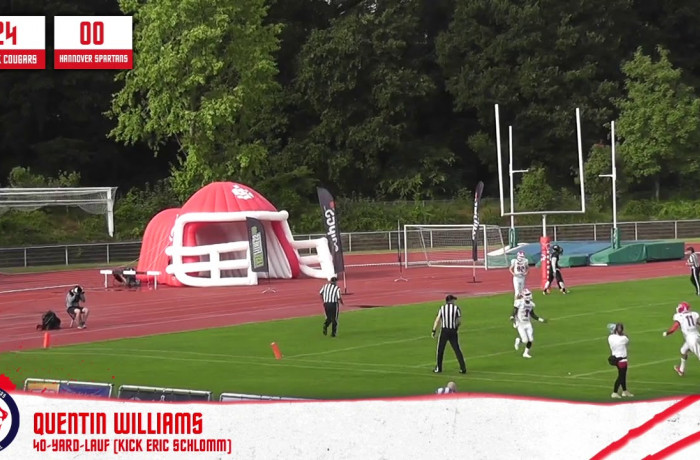 Highlights: Lübeck Cougars - Hannover Spartans (13. Juli 2019)
